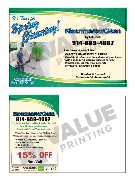 New Rochelle, NY - Designed Postcards for Carpet Cleaner KleenmasterClean