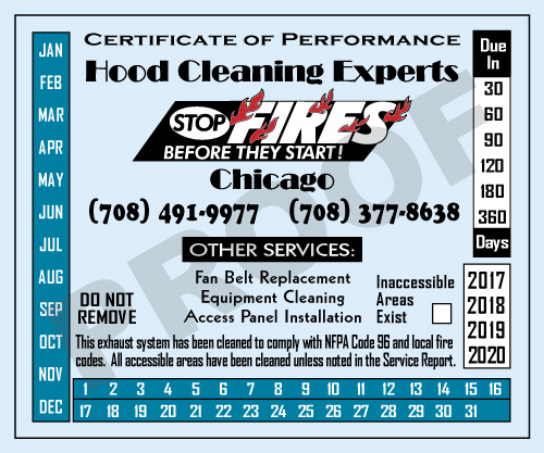 Stone Park, IL - Hood Cleaner Sticker design for Hood Cleaning Experts Chicago.