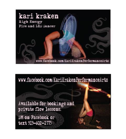Wilmington, NC - Designed business cards for Kari Kraken Performance Arts