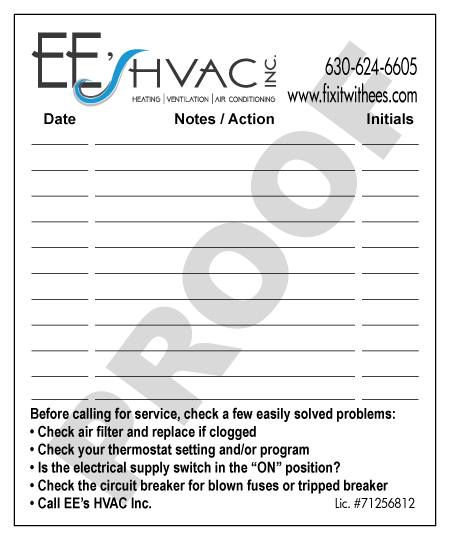 Elk Grove Village, IL - Printed Carbonless Half Sheet Invoice Forms & designed Furnice Service Stickers for EE's HVAC