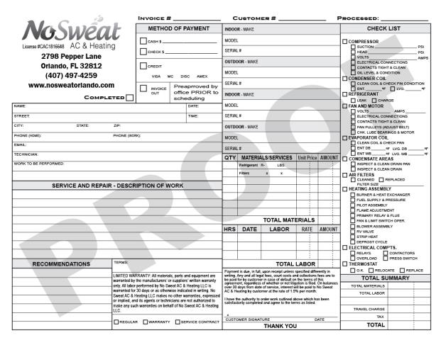 Orlando, FL - Produced HVAC Carbonless Invoice Forms again for No Seat AC and Heating