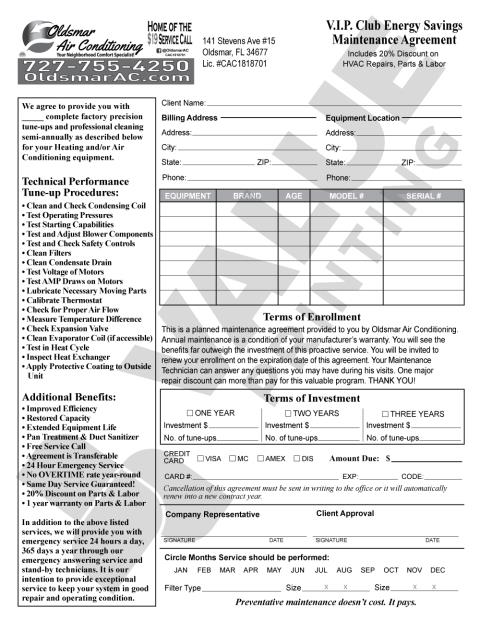 Oldsmar, FL - VP can print all types of carbonless forms for you. Look at this one we are printing for Oldsmar Air Conditioning.  It's a HVAC Maintenance Agreement and we are also printing HVAC Change Out forms for them as well.