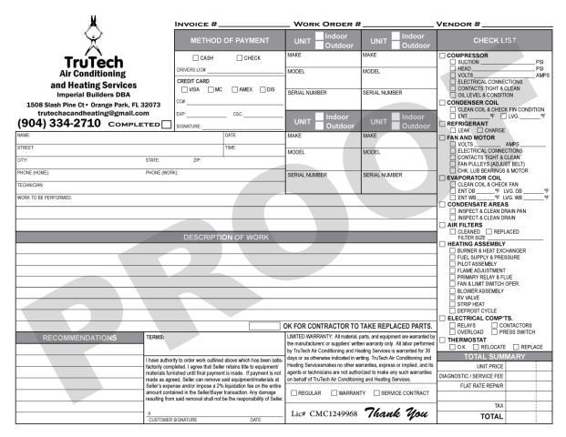 Orange Park, FL - TruTech A/C & Heating Services reqest us to print HVAC Invoice Carbonless Forms