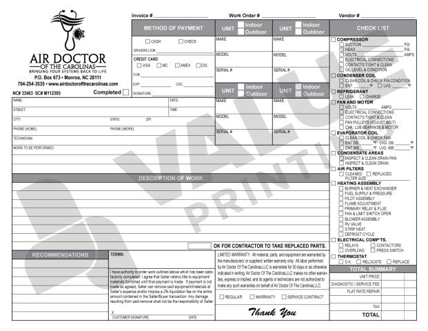 Monroe, NC - Print another 250 carbonless forms via HVAC Invoices for Air Doctor of the Carolina, LLC
