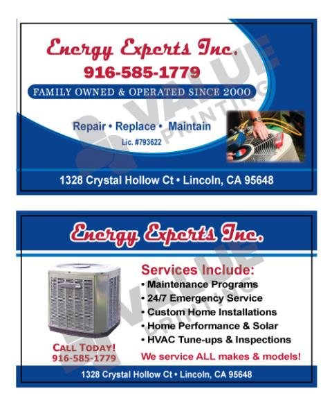 Lincoln, CA - Business Cards and carbonless forms, HVAC Service & Repair Contracts for Energy Experts, Inc.