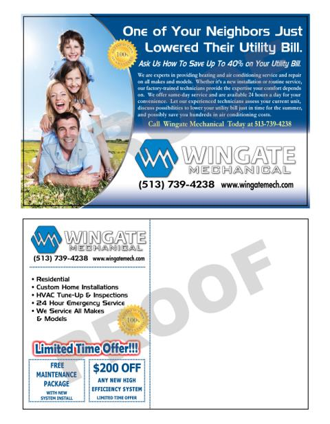 Cincinnati, OH - This is Option 1 for HVAC marketing postcards for Wingate Mechanical to use to increase business.  We did another design for their HVAC Spring/Summer postcard also.
