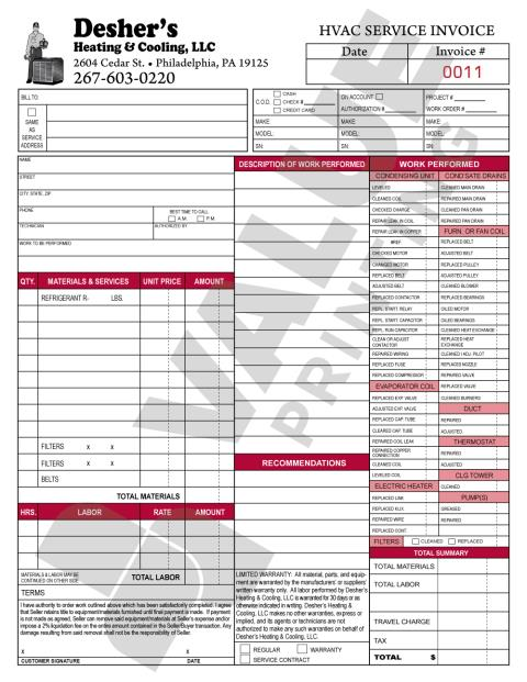 Philadelphia, PA - Unique colors used on these carbonless forms for Desher's Heating & Cooling.  They wanted us to print burgundy & black ink HVAC forms, Invoices, Agreement, Proposals and Checklist forms.