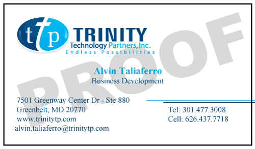 Greenbelt, MD - Choosing the right design for your business card is very important.  It sends a message about you and your business.  Trinity Technology Partners placed another order for their Business Development employee.ds