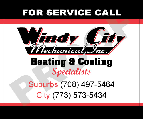 Alsip, IL - Have designed Windy City Mechanical, Inc. flyers and business cards for years.  Today they placed order for us to desgin HVAC Service Stickers and to print Carbonless For, HVAC Service Order & Service Contracts.