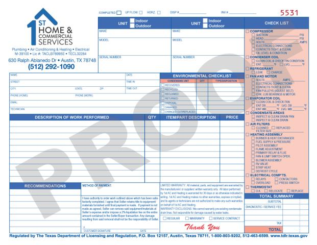 Austin, TX - These HVAC Residential Travel Mileage Invoice Carbonless Forms are really working for 1st Home & Commercial Services!  They just placed another order for 1000.