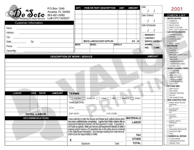 Bradenton, FL - Desoto Plumbing and Drain placed another reorder for us to print carbonless forms for them; 500 HVAC Invoice forms.  We always set up a reminder email for them after reviewing their order history.