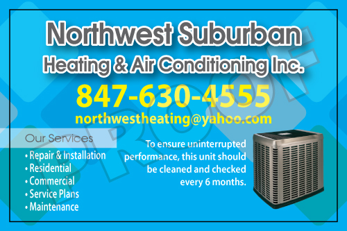 Arlington Heights, IL - Northwest Suburbank Heating & Air placed an order for HVAC Service Stickers that also market their business plus wanted us to print HVAC Carbonless Forms, Invoices.