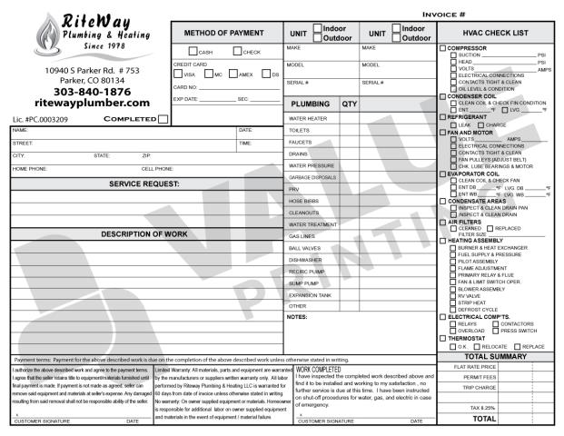 Parker, CO - RiteWay Plumbing & Heating needs us to print HVAC Carbonless Forms as a Plumbing/HVAC Combo Invoice.