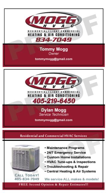 Yukon, OK - These business cards really stand out while still conveying the necessary contact info and service that Mogg HVAC performs.  They also asked us to print HVAC Service Stickers for them.  Service Stickers are great marketing and maintenance info