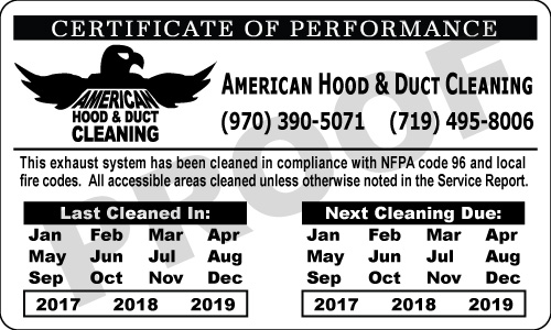 Colorado Springs, CO - American Hood & Duct Cleaning asked us to complete another reorder of Silver Foil Service Stickers.  They been getting these types of stickers for over 3 years