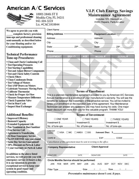 Myakka City, FL - This design for a Maintenance Agreement Carbonless Form is just what American A/C Services requested. Agreement forms helps the customer and the contract hold each other in agreement of the type of maintenance work that will be performed and when