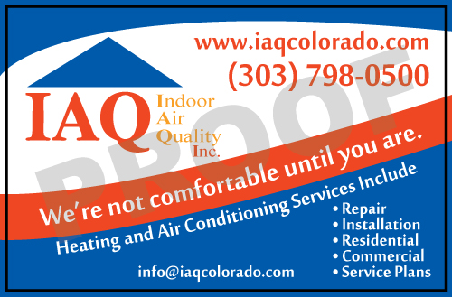 Aurora, CO - Indoor Air Quality liked our design for these HVAC Service Stickers they just placed a reorder