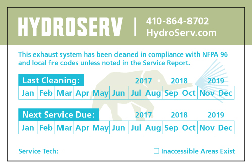 Baltimore, MD - Hydroserv, LLC liked this design so much they just placed another order of 100 for Hood Service Stickers.