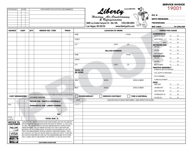 Las Vegas, NV - When Liberty Heating & Air first came to us many years ago, they needed a custom design for their Carbonless Forms so this is the final product HVAC Service Invoice that we will print 2000 today.  OUr turnaround is great; 5 to 7 days once you approve proof & pay.