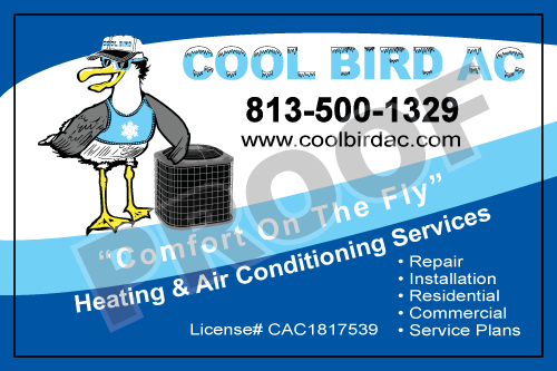 Gibsonton, FL - New Customer, Cool Bird AC, placed an order for design of HVAC Service Stickers, Business Cards, and HVAC Equipment Proposal Contract Carbonless Forms. They want their logo on both the stickers and the cards which we can certainly do.