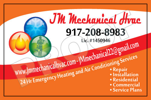 Staten Island, NY - One of my favorite colors used in the design for JM Mechanical HVAC Service Stickers.  Orange calls attention and is a happy color.