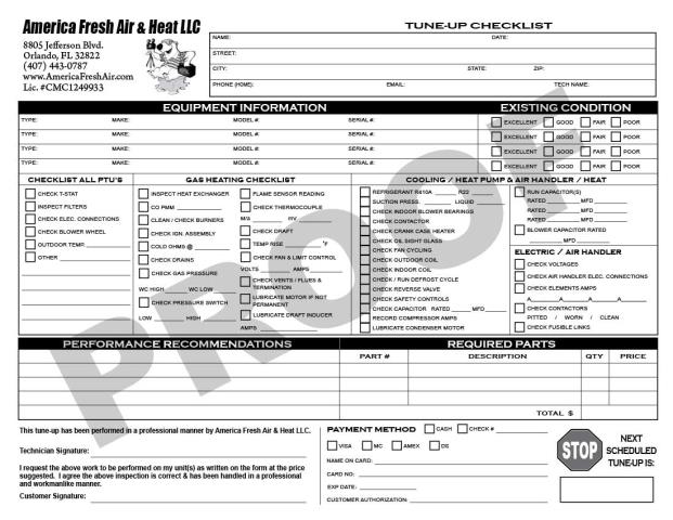 Orlando, FL - America Fresh Air & Heat is requesting Carbonless Forms to use for thier HVAC Multi Unit Tune-Up Checklist & their half-sheet HVAC Invoice forms