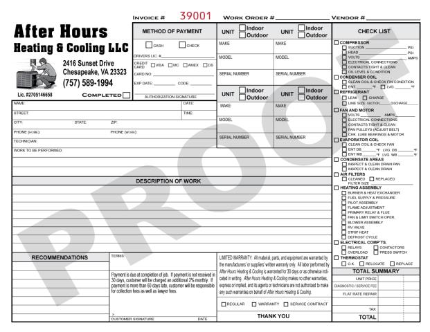 Chesapeake, VA - After Hours Heating & Cooling requested another set of 1000 2-part Carbonless Forms .  We will print HVAC Flat Rate Invoices for them.