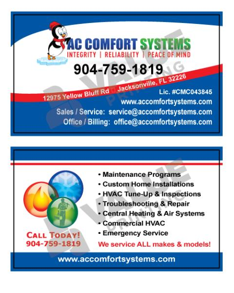 Real time service area for value printing jacksonville fl business cards design and proposal carbonless form will print for ac comfort systems reheart Images