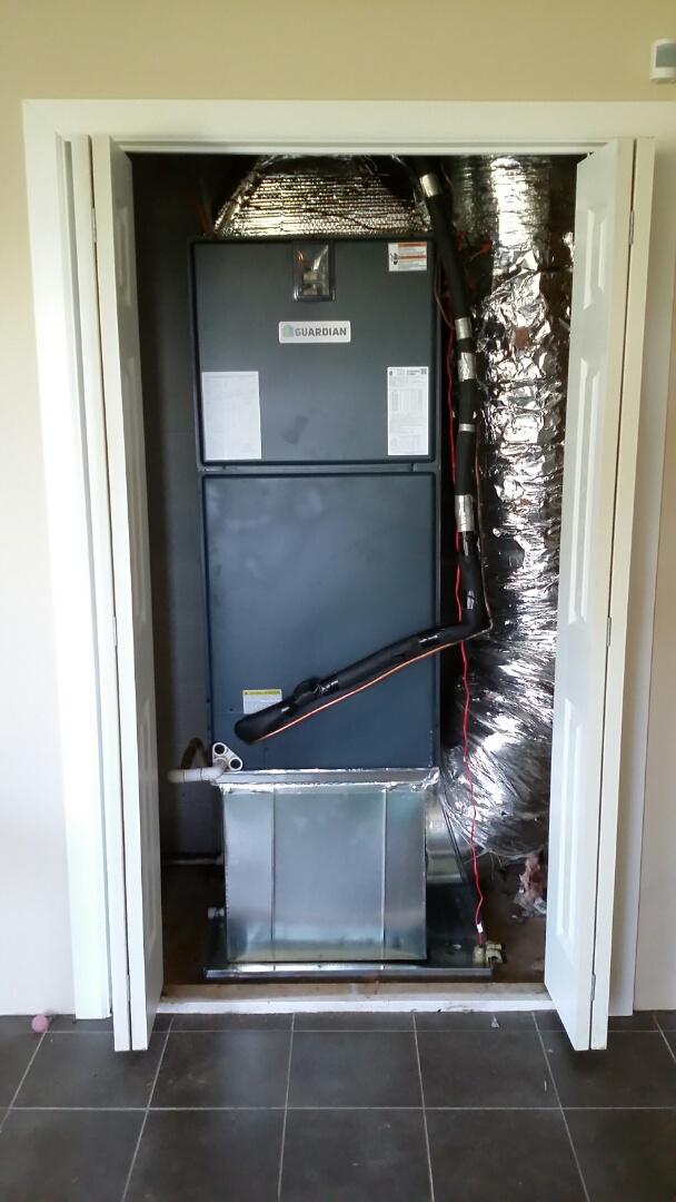 Installed Guardian 5 Ton 14 Seer Heat pump System in Kodak.