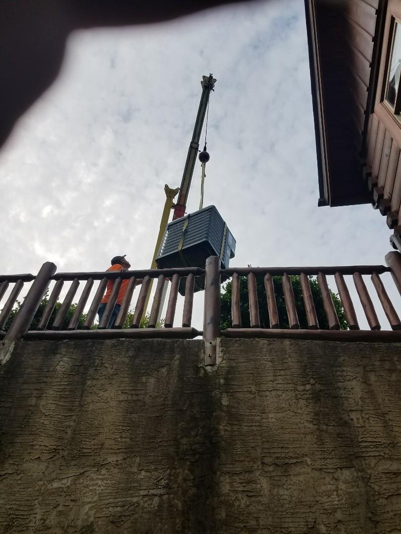 Installing New Guardian 3.5 Ton heat pump Condenser unit in Sevierville.