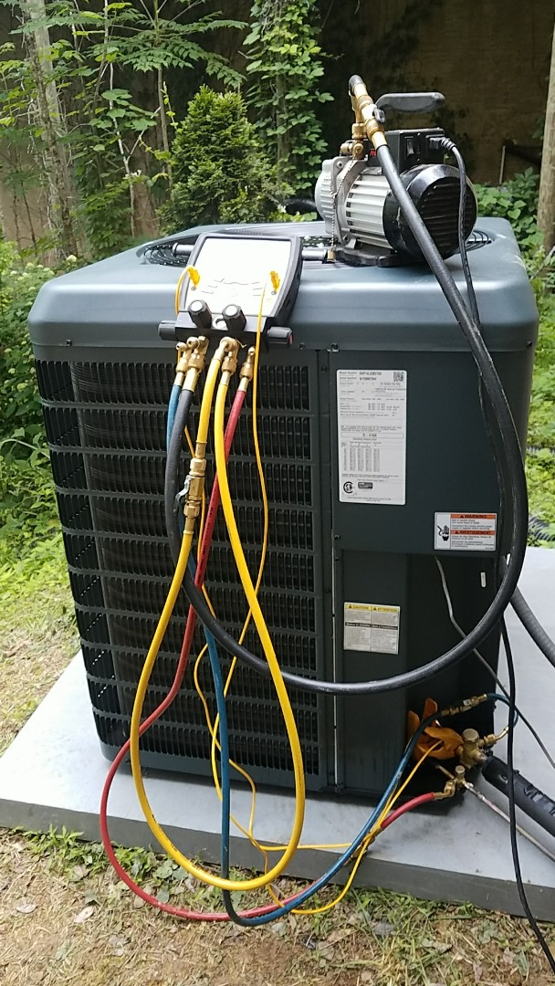 Finishing installing the Guardian 3.5 ton condenser heat pump in Sevierville.