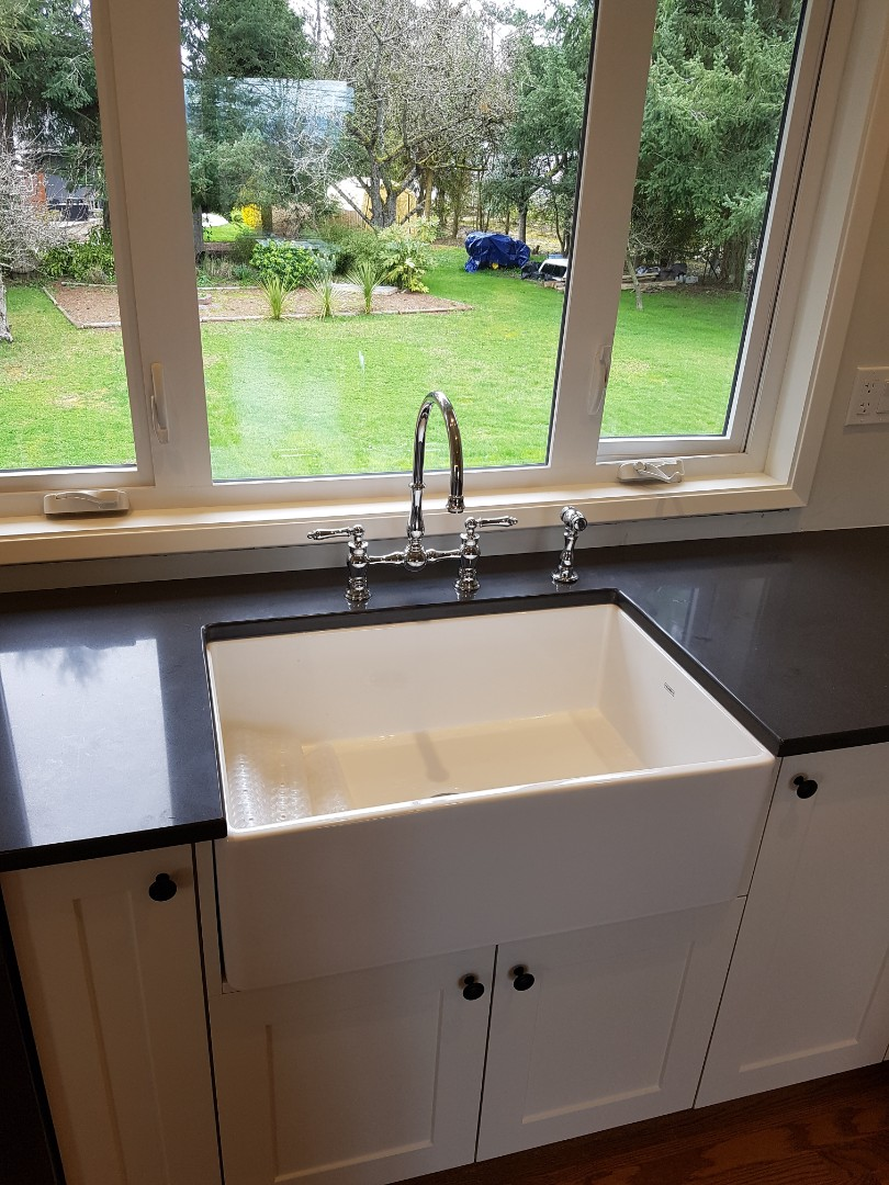 Saanichton, BC - Installed Franke faucet and finished farm style sink hook up in Saanichton