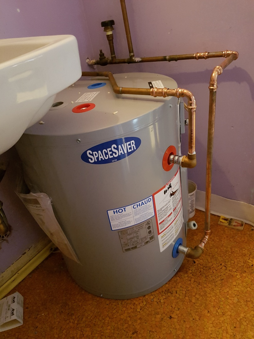 Victoria, BC - Replace 19gal space save hot water tank in a bakery in Langford