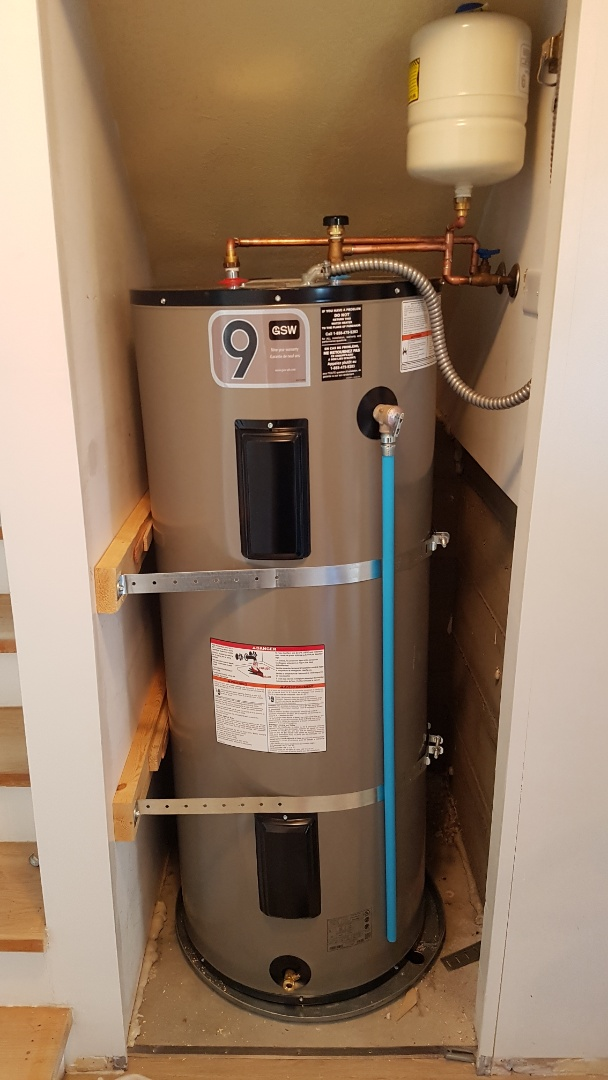 Victoria, BC - Install new main shut off valve and pressure reducing valve. Change 40gal hot water tank to a 60gal hot water tank with new drain pan thermal expansion tank and earthquake strapping