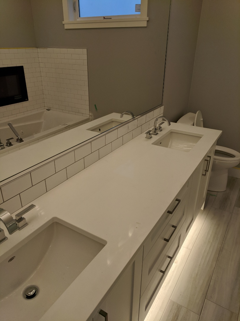 Sidney, BC - Installing double vanity sinks in new home in Sidney BC
