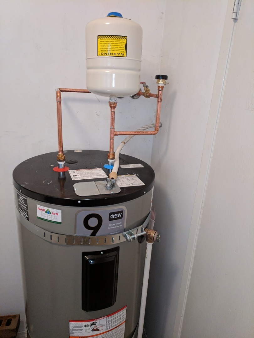 Install water heater, earthquake straps, expansion tank, vacuum breaker for Homeowner in Saanich, BC