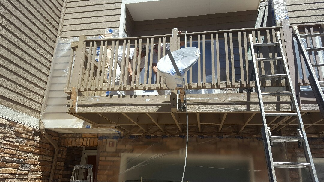 Littleton, CO - Kicking off Canterbury balcony painting and staining! Littleton, CO