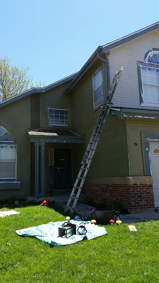 Westminster, CO - So cool to see the transformation of this Thornton Westminster house! The homeowner choose an awesome Benjamin Moore color Hamburg grey with an ultra white trim.