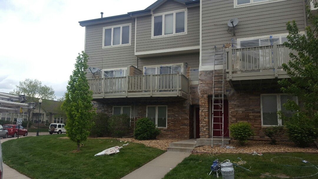 Littleton, CO - Canterbury Balcony Repaint is under way at Riverwalk Townhomes. Littleton, CO