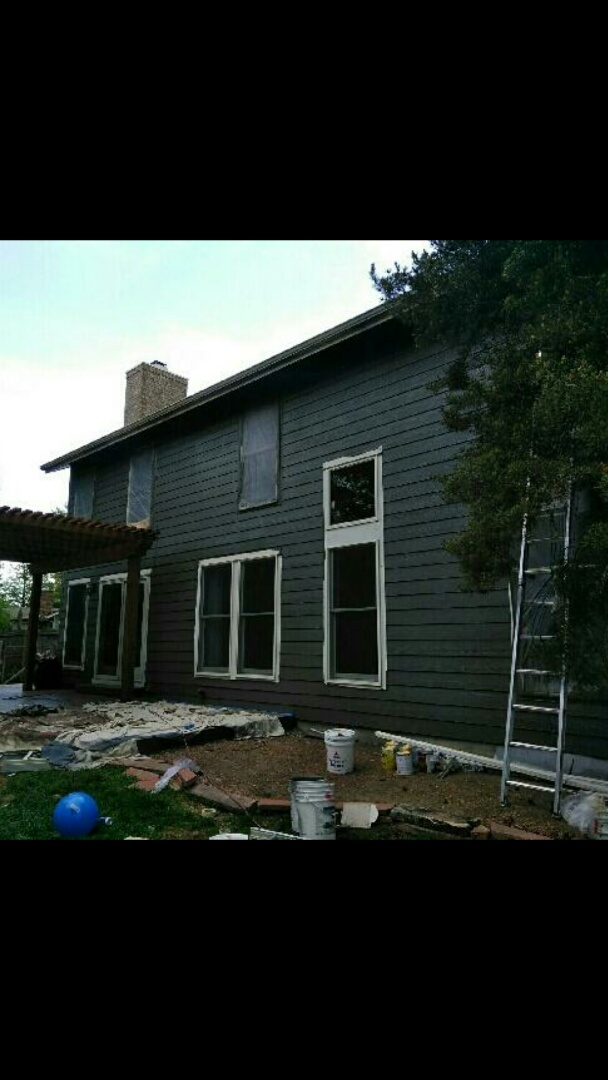 Westminster, CO - The Benjamin Moore Kendall charcoal looks so good! Can't wait to see how the alabaster white trim will pop! Awesome work guys!