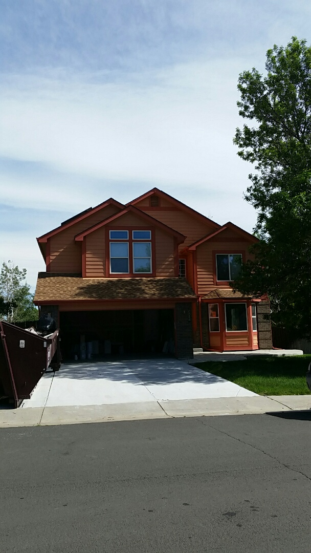 Broomfield, CO - Giving this beautiful old peach Broomfield home a complete renovation. Sherwin Williams Super paint Grizzle Grey with a bright white alabaster trim and Tin Lizzie accents. Can't wait to see the results!