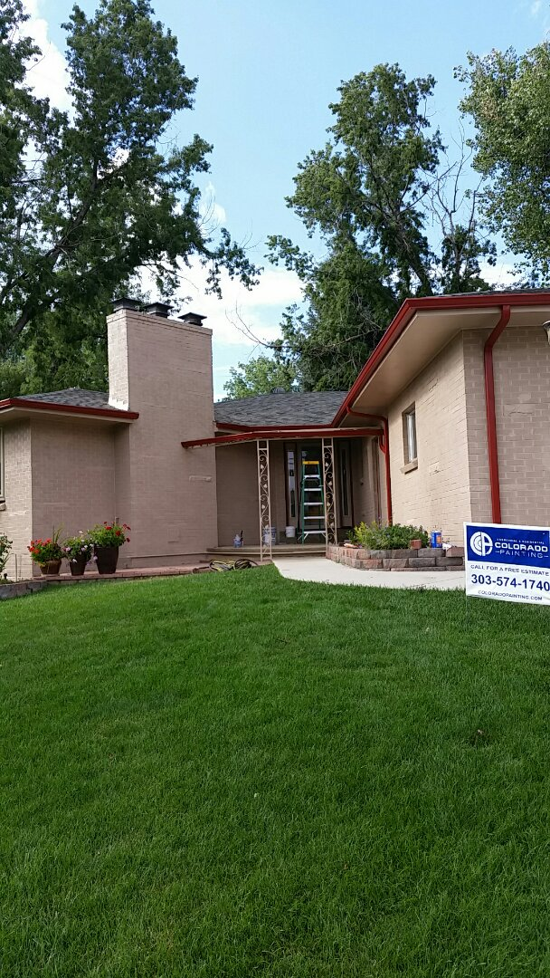 Arvada, CO - Gave this old Arvada blonde brick home the face lift it needed! Sherwin Williams loxon masonry primer with sand trap body and fireweed trim. It looks amazing, great job guys!