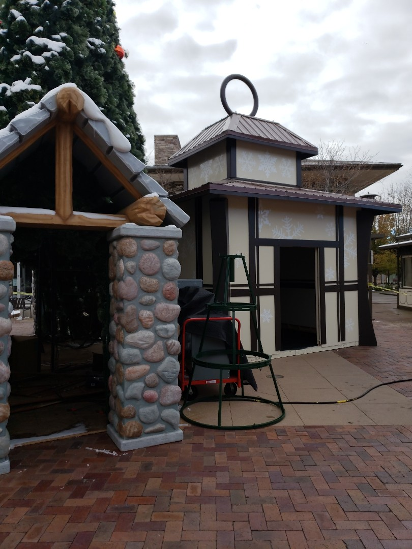 Longmont, CO - Commercial project painting using Benjamin Moore Regal Moore guard...Santa's house is ready for the season at The Orchard's.  How fun!