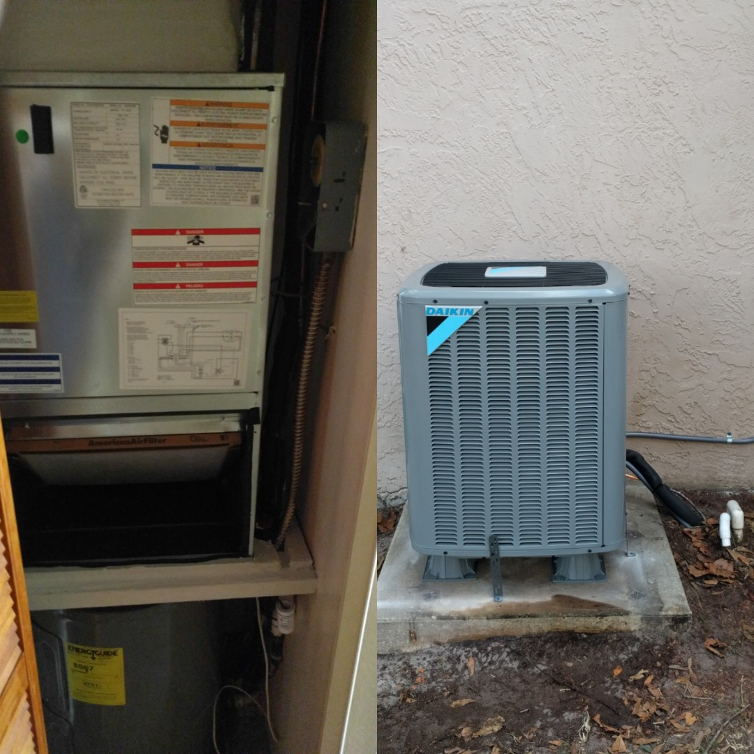 Rockledge, FL - Finishing install of a new Daikin straight cool system for new customer.