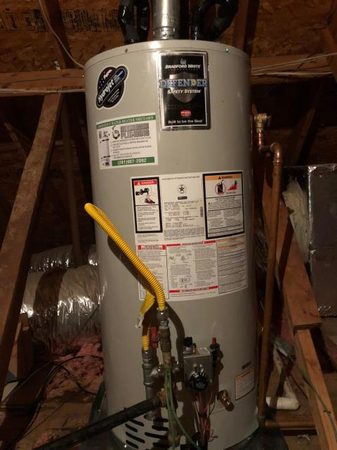 Tomball, TX - Replaced water heater in attic with Bradford White water heater for customer in Spring