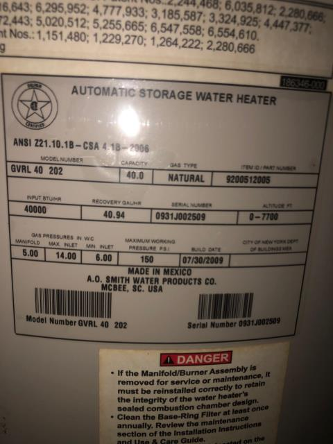 Replace A.O Smith water heater in attic with Bradford White water heater