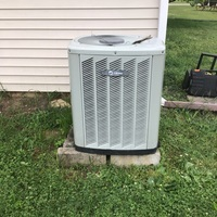 Upon inspection found the outside condenser trying to run but the fan not spinning. Unit will kick on by manually moving the fan. Recommended to replace Condenser Fan Motor (Single Speed) with Capacitor & Fan Blades.