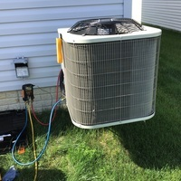 Recharged a 2017 Bryant Air Conditioner with 4 lbs of R-410A Puron and added Easy Seal.