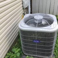 Spring Season tune-up and safety checkout performed on a Carrier 13 SEER 2.5 Ton Air Conditioner as part of a service maintenance agreement.