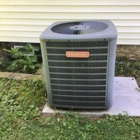 Alexandria, OH - Goodman AC not blowing cold air. Capacitor needs replaced and unit low on refrigerant. Replaced the Dual Capacitor 55+5 and recharged system with 2 lbs of R-22 Freon and added Easy Seal. System is functioning at this time.